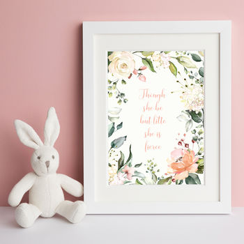 'Though She Be But Little' Nursery Print