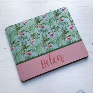 Personalised Vintage Style Flamingo Mouse Mat