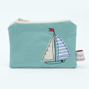 Saily Boat Embroidered Small Zip Coin Purse - purses & wallets
