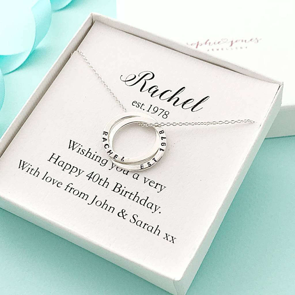 Personalised 40th Birthday Rings Necklace