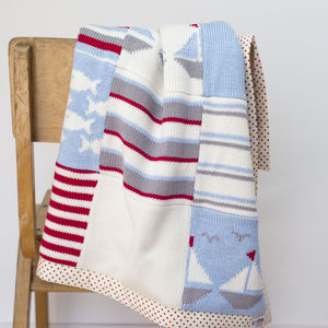 Boats Knitted Baby Blanket
