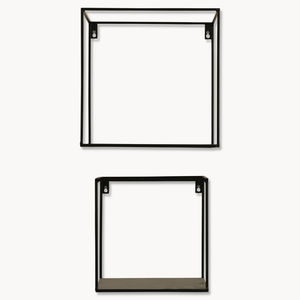 Brenton Square Black Metal Shelf Set Of Two - kitchen