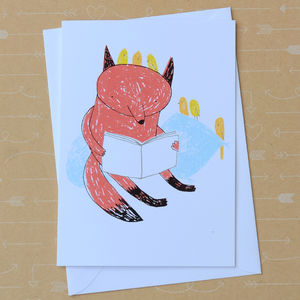 Reading Fox Screenprinted Card - winter sale