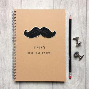 Personalised, Sewn Moustache, Best Man Notebook