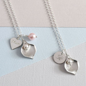 Calla Lily Initial Necklace - wedding jewellery