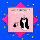 Glitter Happy Birthday Mum Cat Card