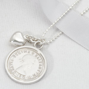 All The Luck And Love Sterling Silver Sixpence Necklace - wedding jewellery