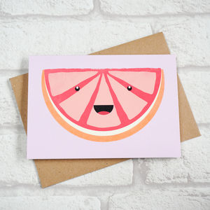 Cute Grapefruit Slice Greeting Card - all purpose cards