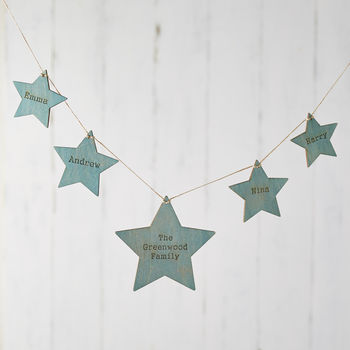 Blue And Gold Wooden Hanging Star Bunting