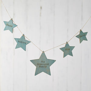 Blue And Gold Wooden Hanging Star Bunting - garlands & bunting