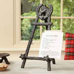 Cast Iron Horseshoe Recipe Book Easel