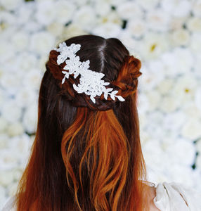 Narrow Lace Hair Vine In Ivory 'Demelza' - bridal hairpieces