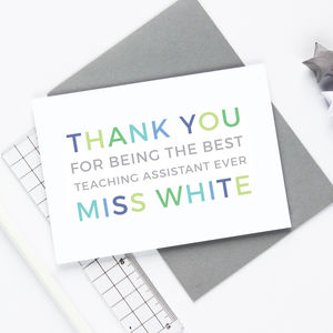 Personalised 'Thank You' Teaching Assistant Card - teacher cards