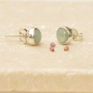 Silver And Aquamarine Stud Earrings
