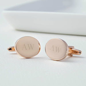 Personalised Rose Gold Oval Cufflinks - men's accessories