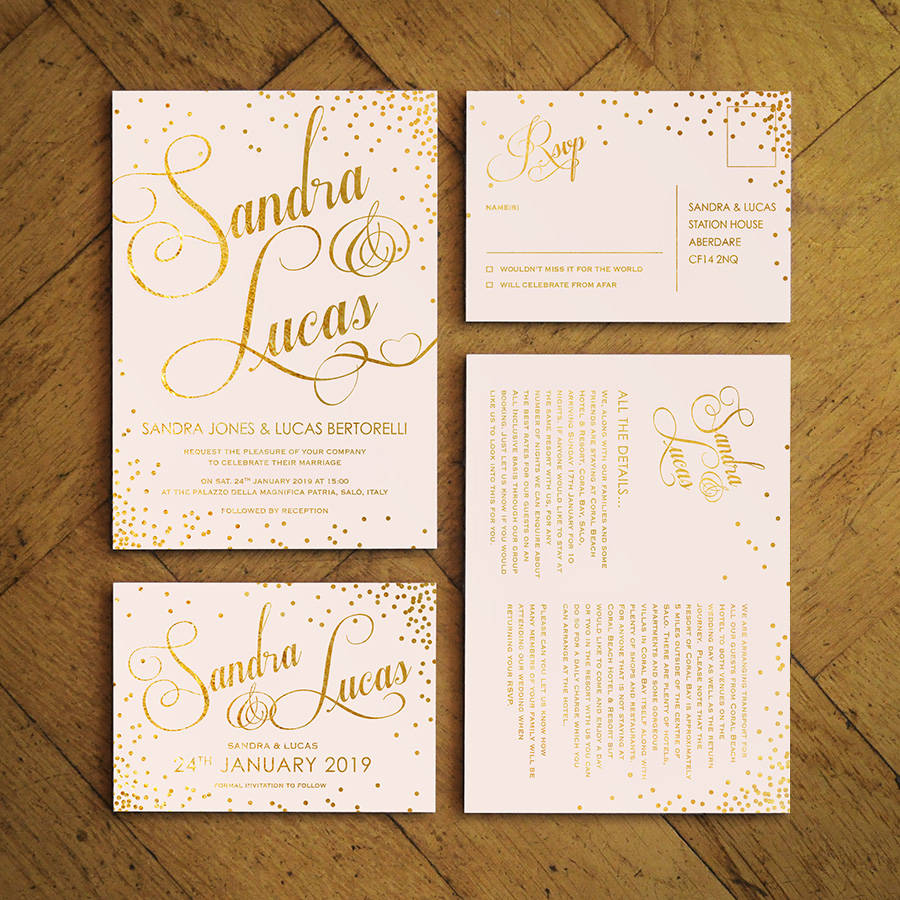classic script foiled wedding invitations by feel good wedding ...