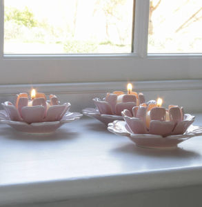 Pale Pink Ceramic Flower Tealight Holder - home accessories