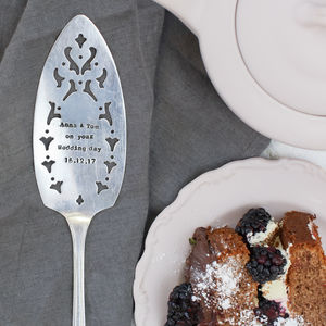 Personalised Silver Plated Vintage Cake Slice - personalised wedding gifts