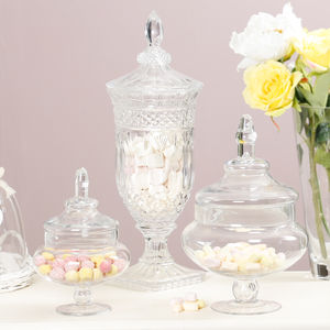 Bonbon Boutique Cut Glass Crystal Sweet Jars - tins, jars & bottles
