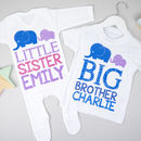 Personalised Big Brother Little Sister Elephant Set