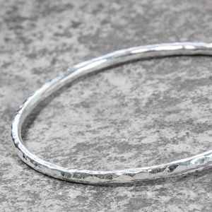 Sterling Silver Chunky Hammered Stacking Bangle - bracelets & bangles