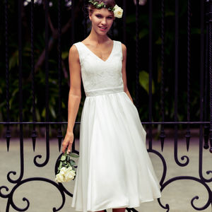 Madeleine Lace Tea Length Wedding Dress - wedding dresses
