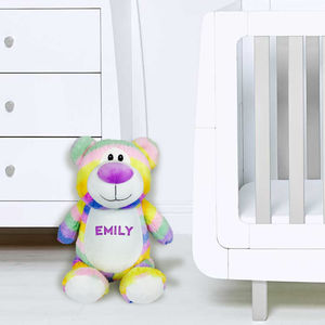 Personalised Pastel Rainbow Bear, Suitable From Birth
