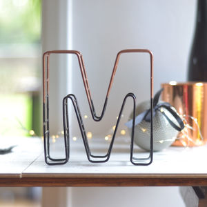 Colour Dip Two Toned Wire Letter - room decorations