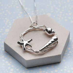 Sterling Silver Shell And Starfish Necklace
