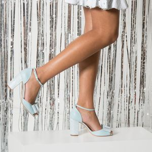 Cindy Blue Pale T Bar With A Block Heel