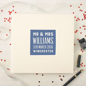 Personalised Typographic Wedding Guest Book - personalised