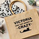 Personalised Cat Crazy Shimmer Shopping Bag