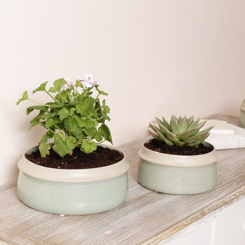 Sage Green Ceramic Planter Bowls