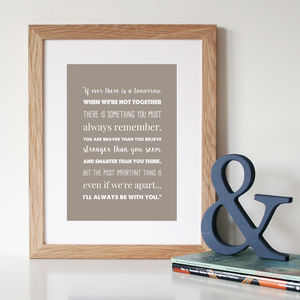 'I'll Always Be With You' Winnie The Pooh Print - literature