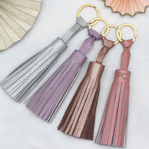 Personalised Luxury Leather Pastel Tassel Keyring