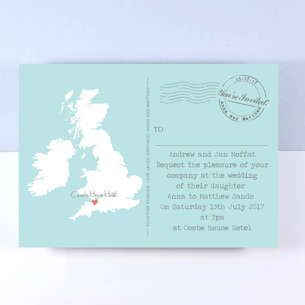 uk map wedding invitation by paper and inc notonthehighstreetcom