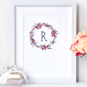 Personalised Flower Wreath Print
