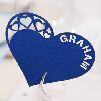 Personalised Detailed Heart Wine Glass Name Place Card