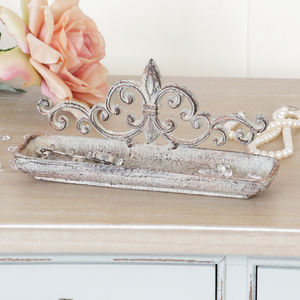 Vintage Style Distressed Victoriana Silver Trinket Tray - decorative accessories