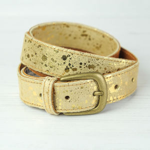 Leather Cow Hide Belt In Metallic Gold - belts