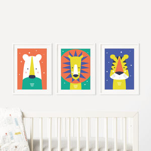 Animal Bright Modern Baby Nursery Wall Art Trio - posters & prints