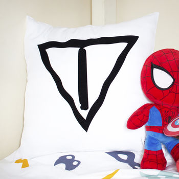 Personalised Superhero Initial Shield Cushion
