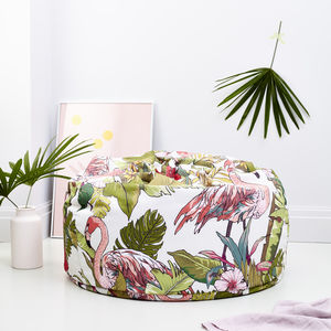 Tropical Flamingo Print Adult Bean Bag Light - furniture