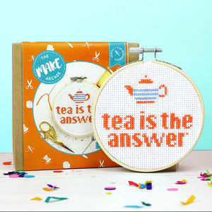 Tea Is The Answer Cross Stitch Craft Kit - gifts for her