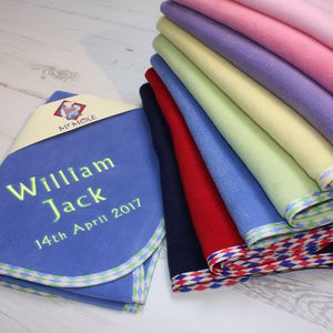Personalised Harlequin Trim Blanket In Three Sizes - baby's room