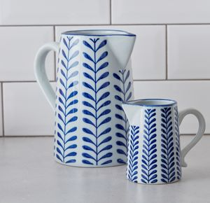 Blue And White Geometric Jug - sugar bowls & cream jugs