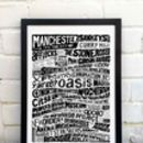 Manchester Landmarks Typography Print Poster