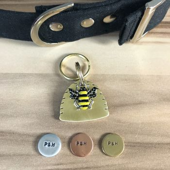 The Beehive Hand Stamped Dog ID Tag