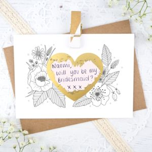 Personalised Wedding Scratch Card - be my bridesmaid?
