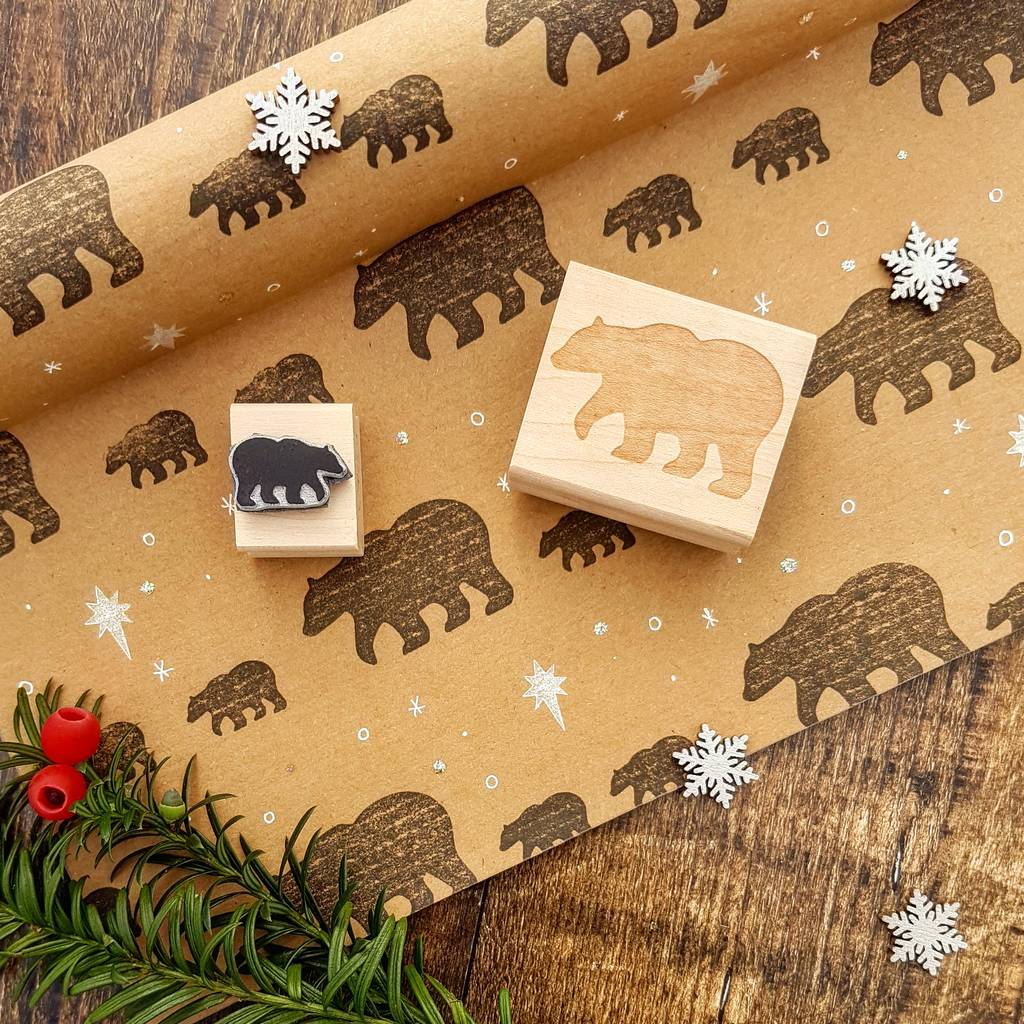 Christmas Mother And Baby Bear Rubber Stamp Set